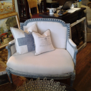 French Settee, Swiss Cross Pillow, and Typography Pillow